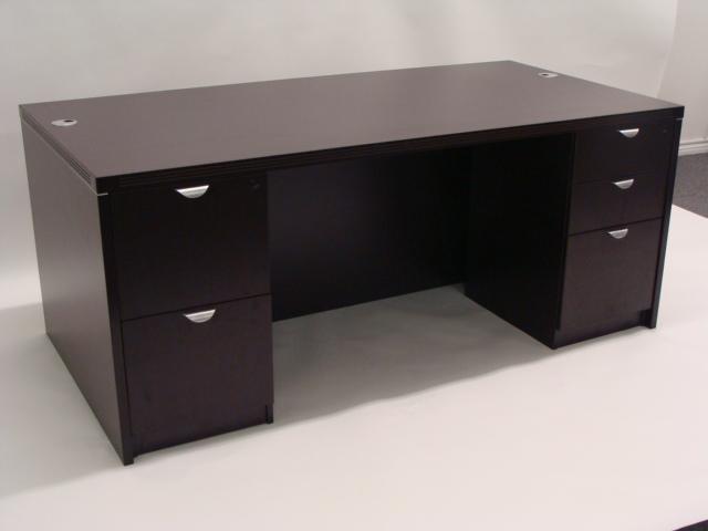 Espresso Double Pedestal Desk Ofco Office Furniture